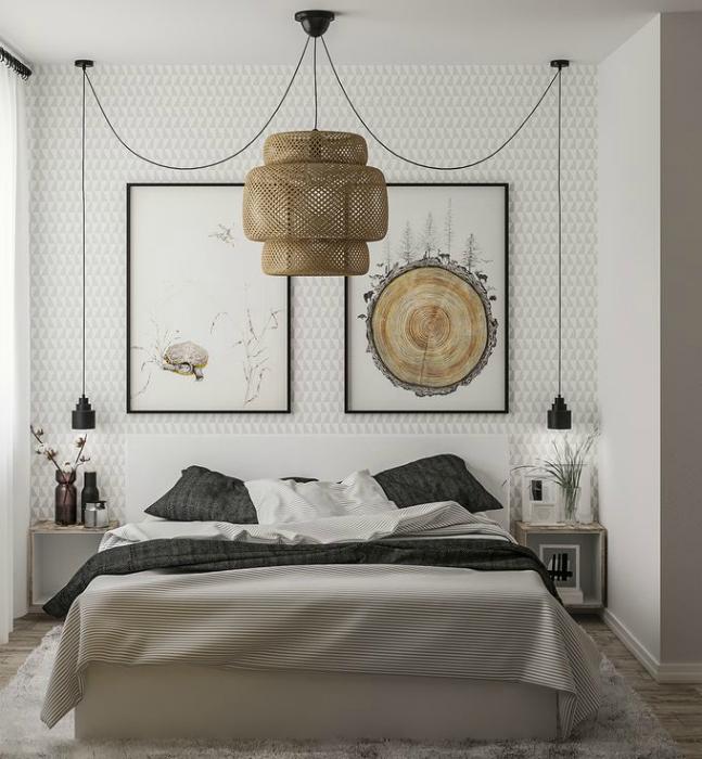 Природні мотиви в інтер'єрі спальні.