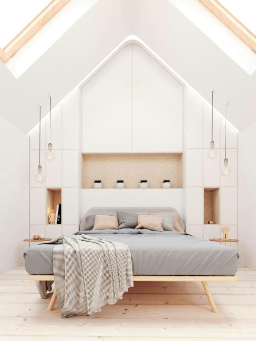 Білосніжна мансардні спальня.