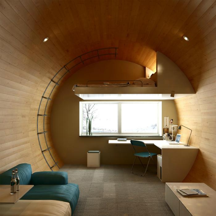 Нестандартна спальня з ліжком горищем.