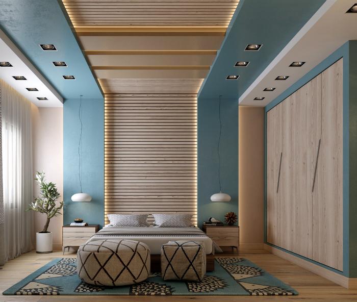Спальня з великою кількістю деталей з дерева.