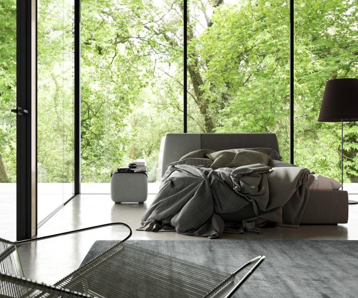 Спальня з панорамними вікнами.