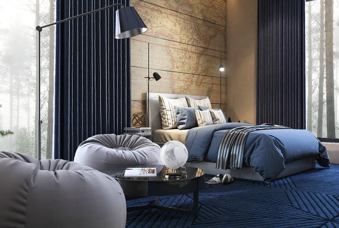 Спальня з картою на стіні.