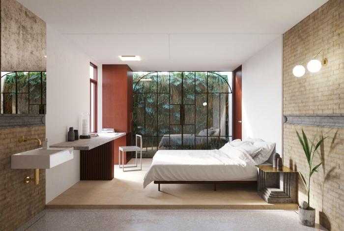 Спальня в тропічному стилі.