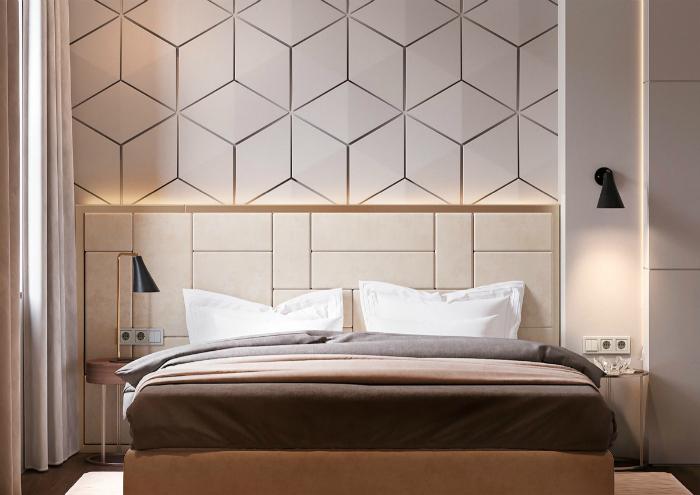 Світла спальня з текстурної стіною.