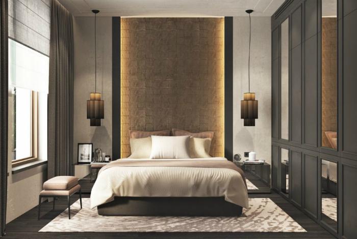 Контрастний інтер'єр спальні з дивовижною підсвічуванням.