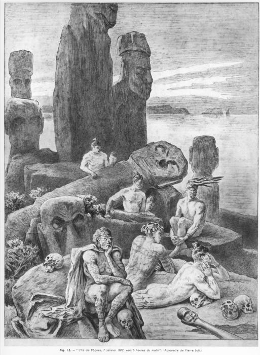 Рапа-нуи очікують прибуття європейців. П'єр Лоті, 1872 рік. | Фото: ru.wikipedia.org.