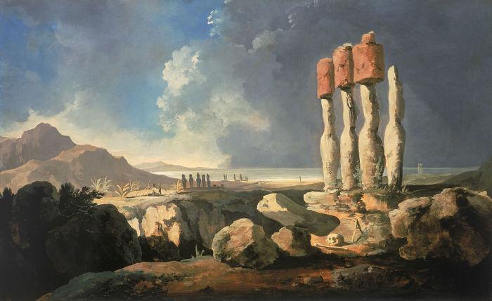 Вид на монументи острова Пасхи (Рапа-нуи). Вільям Ходжес, 1775 рік. | Фото: en.wikipedia.org.